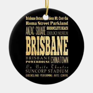 Brisbane City of Australia Typography Art Ceramic Ornament