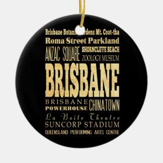 Brisbane City of Australia Typography Art Double-Sided Ceramic Round Christmas Ornament