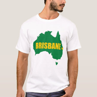 Brisbane Green and Gold Map T-Shirt