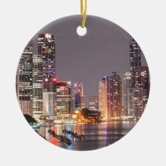 Brisbane Night Skyline Ceramic Ornament
