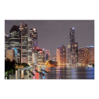 Brisbane Night Skyline Poster