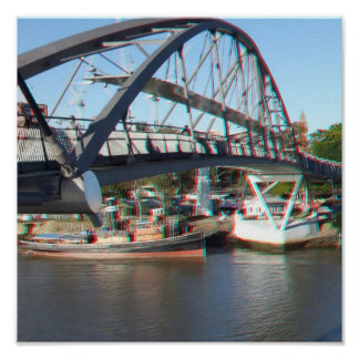 Brisbane River Pedestrian Crossing in 3D Anaglyph Poster