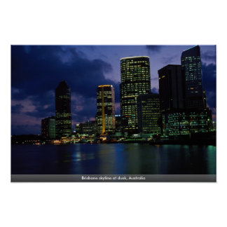 Brisbane skyline at dusk, Australia Poster