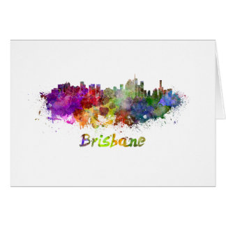 Brisbane skyline in watercolor card