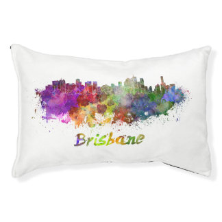 Brisbane skyline in watercolor pet bed