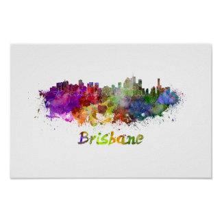 Brisbane skyline in watercolor poster