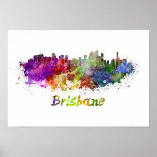 Brisbane skyline in watercolor poster