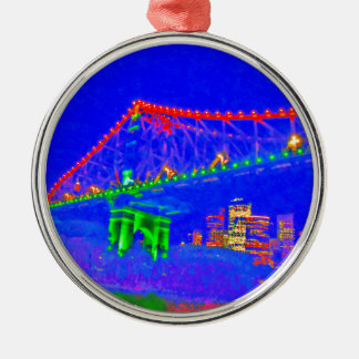 BRISBANE STOREY BRIDGE AUSTRALIA ART EFFECTS Silver-Colored ROUND ORNAMENT