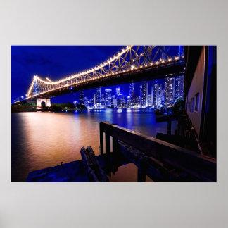 Brisbane's Story Bridge at night Poster