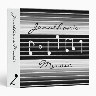 Bristles Musical Notes Personalized 3 Ring Binder