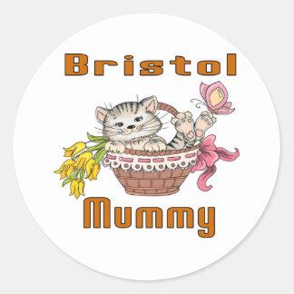 Bristol Cat Mom Classic Round Sticker