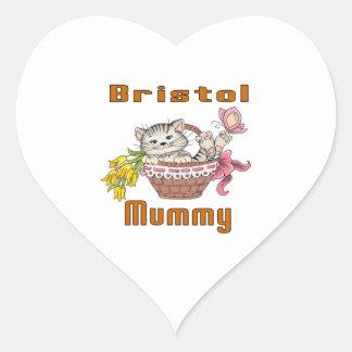 Bristol Cat Mom Heart Sticker