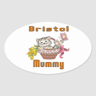 Bristol Cat Mom Oval Sticker