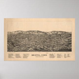 Bristol Connecticut 1889 Antique Panoramic Map Poster