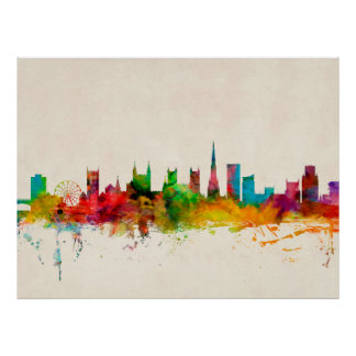 Bristol England Skyline Poster