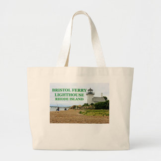 Bristol Ferry Lighthouse, Rhode Island Large Tote Bag