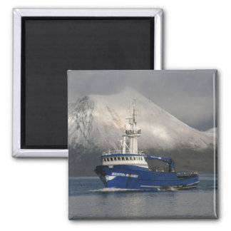 Bristol Mariner, Crab Boat in Dutch Harbor, Alaska Square Magnet