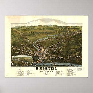 Bristol New Hampshire 1884 Antique Panoramic Map Poster