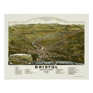 Bristol, NH Panoramic Map - 1884 Poster