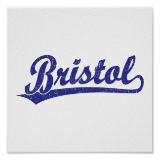 Bristol script logo in blue posters