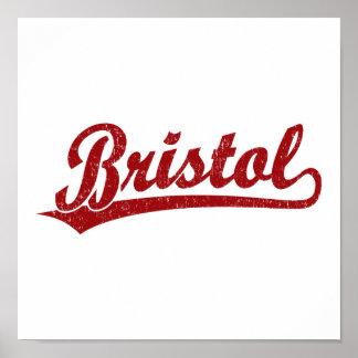 Bristol script logo in red poster