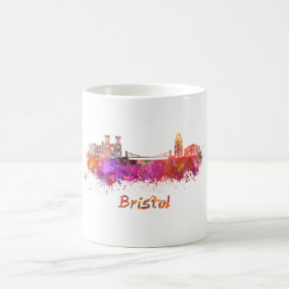 Bristol skyline in watercolor coffee mug