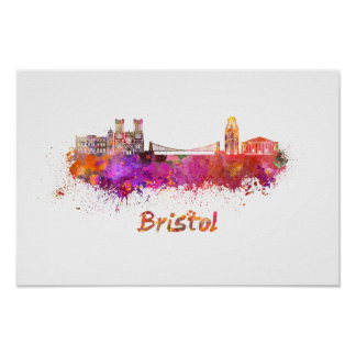 Bristol skyline in watercolor poster