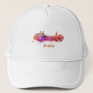 Bristol skyline in watercolor trucker hat