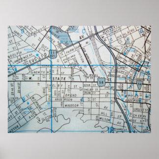 Bristol, VA Vintage Map Poster