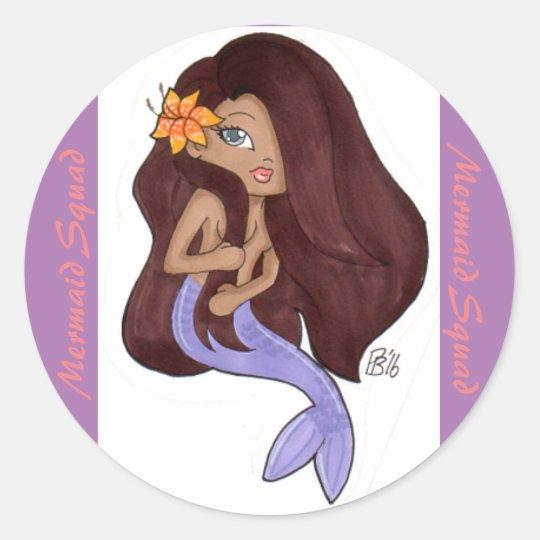 Brit Mermaid Squad Classic Round Sticker