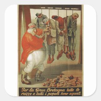 Britain all races  Propaganda Poster Square Sticker