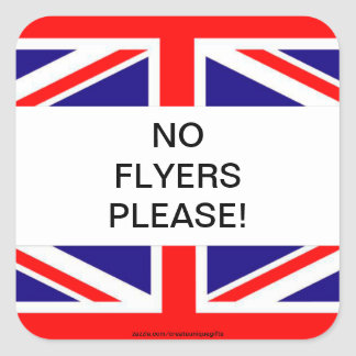 Britain Flag No Flyers Please Mail box Sticker