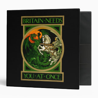 Britain needs you at once, WWI British War Poster 3 Ring Binders