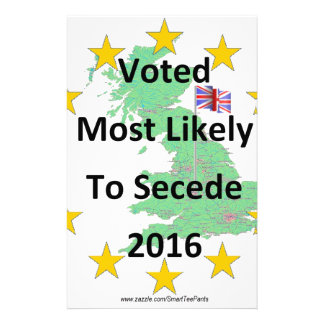 Britain Voted Most Likely to Secede 2016 White Customized Stationery