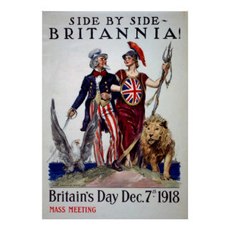 Britains Day Side By Side Britannia Vintage Poster
