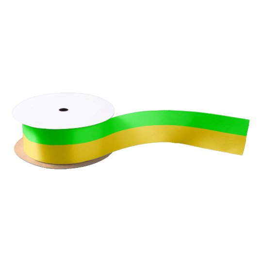Brite Green and Yellow-Gold Satin Ribbon