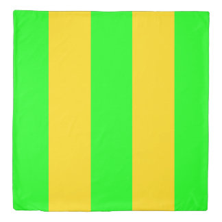Brite Green and Yellow-Gold Striped Duvet Cover