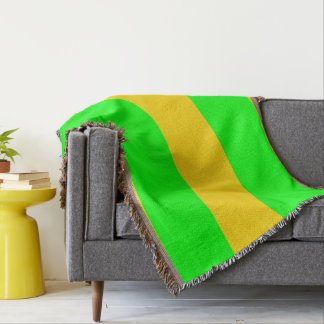 Brite Green and Yellow-Gold Striped Throw