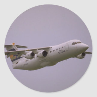 British Aerospace 146 Whisperjet taking off, Biggi Classic Round Sticker