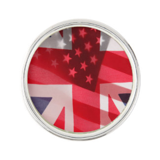 British and American flags Lapel Pin