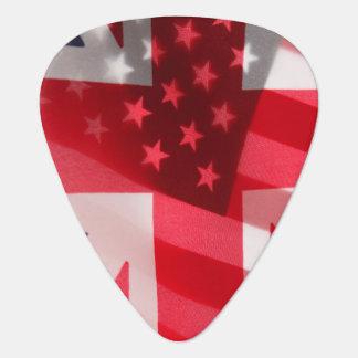 British and USA flags Guitar Pick