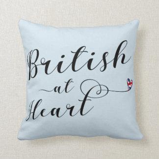 British At Heart Throw Cushion, UK Throw Pillow