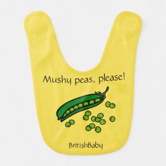 """British Baby Bib  (""""Mushy peas, please!)"""