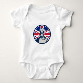 British Baker Chef Union Jack Flag Icon Baby Bodysuit
