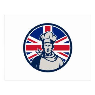 British Baker Chef Union Jack Flag Icon Postcard