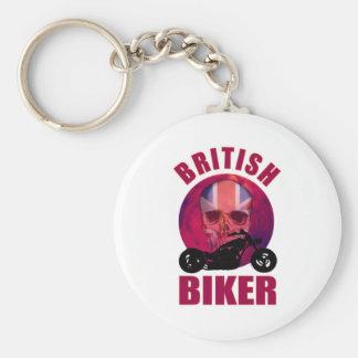 British Biker Skull Chop Basic Round Button Keychain