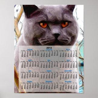 British blue cat print