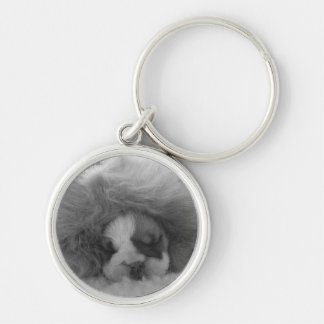 British Bulldog Puppy Keyring Silver-Colored Round Keychain