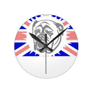 British Bulldog Round Clock