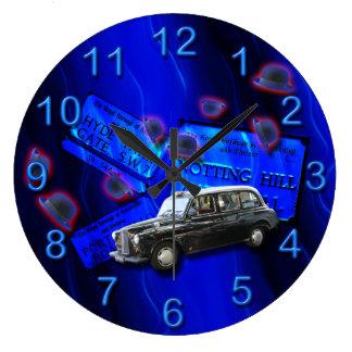 British cab London icons blue Large Clock